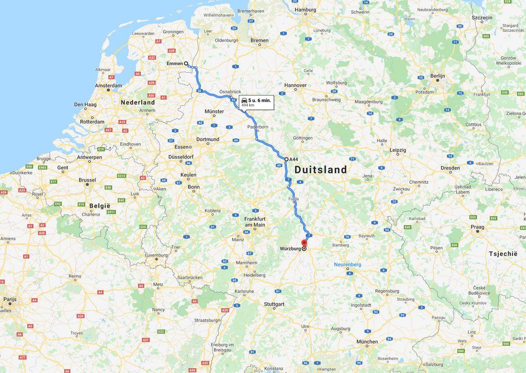 Snelste weg van Noord-Nederland richting Oostenrijk