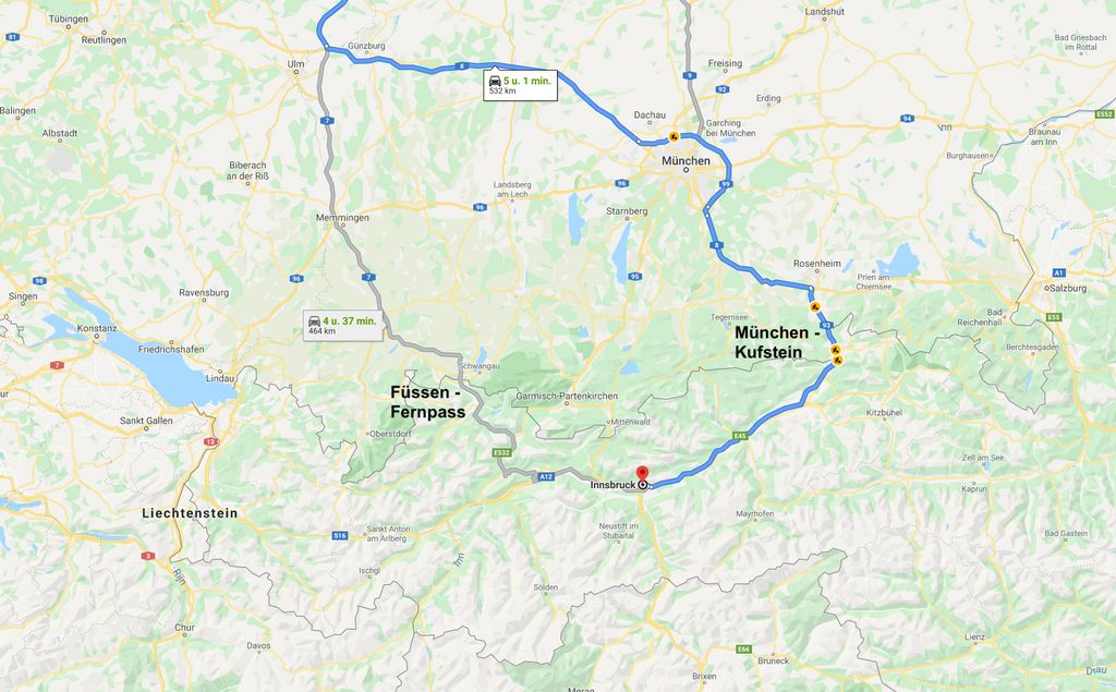 De routes naar Oostenrijk via de Fernpass en Kufstein