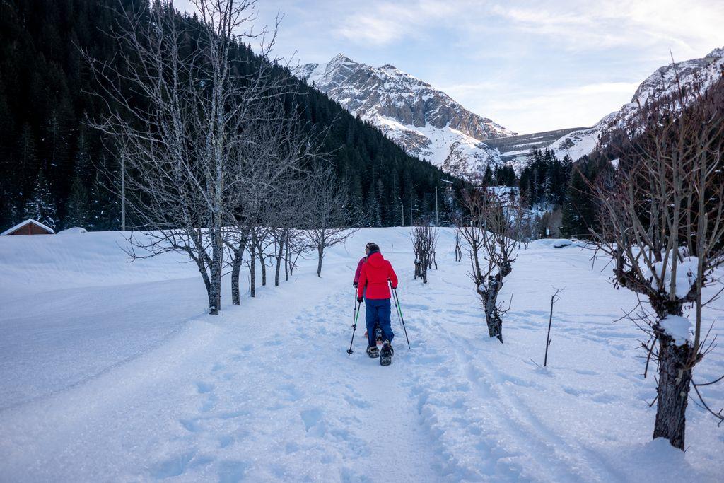 Sneeuwschoenwandelen richting de Grande Dixencedam