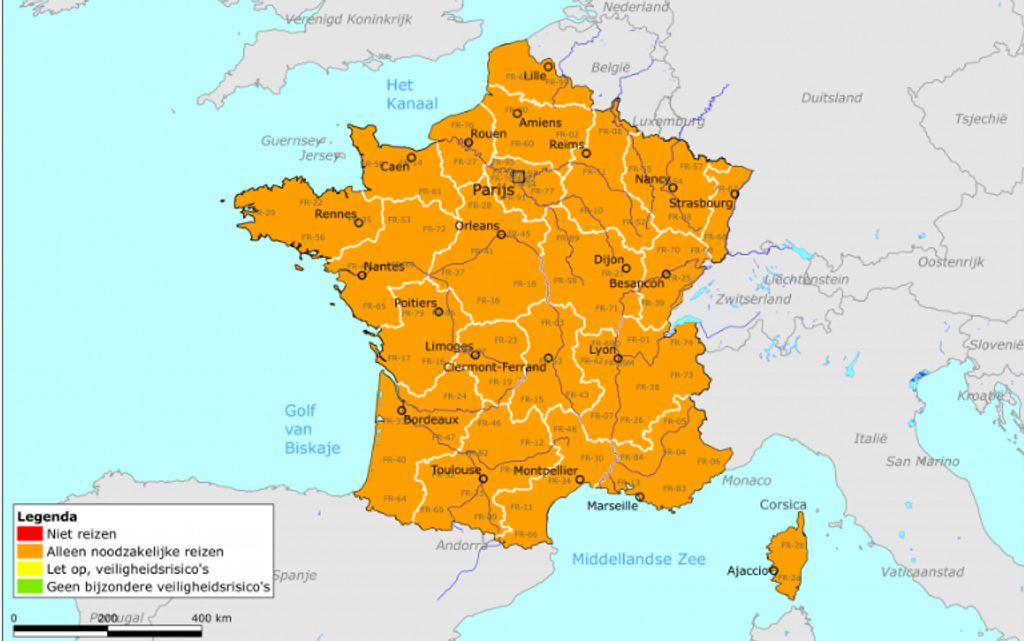 Heel Frankrijk code oranje