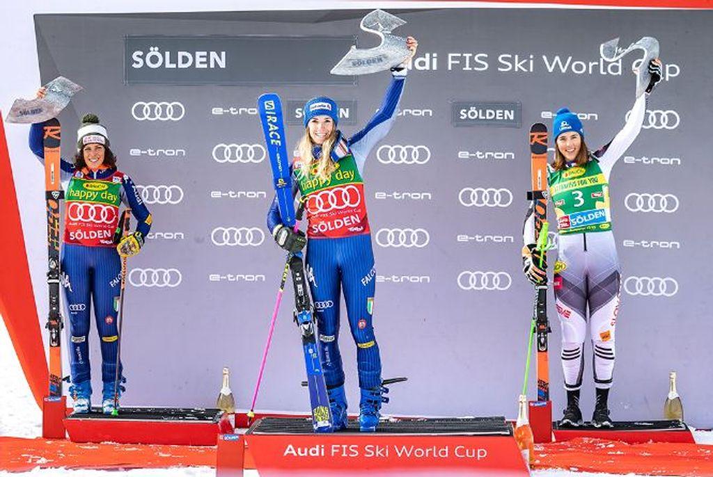 Podium dames worldcup reuzenslalom Sölden 2020
