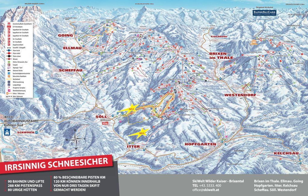 Pistekaart Skiwelt Wilder Kaiser - Brixental (2020-2021)