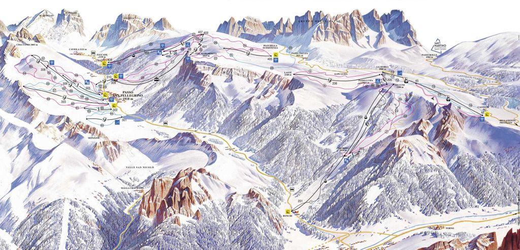 pistekaart Passo San Pellegrino - Falcade
