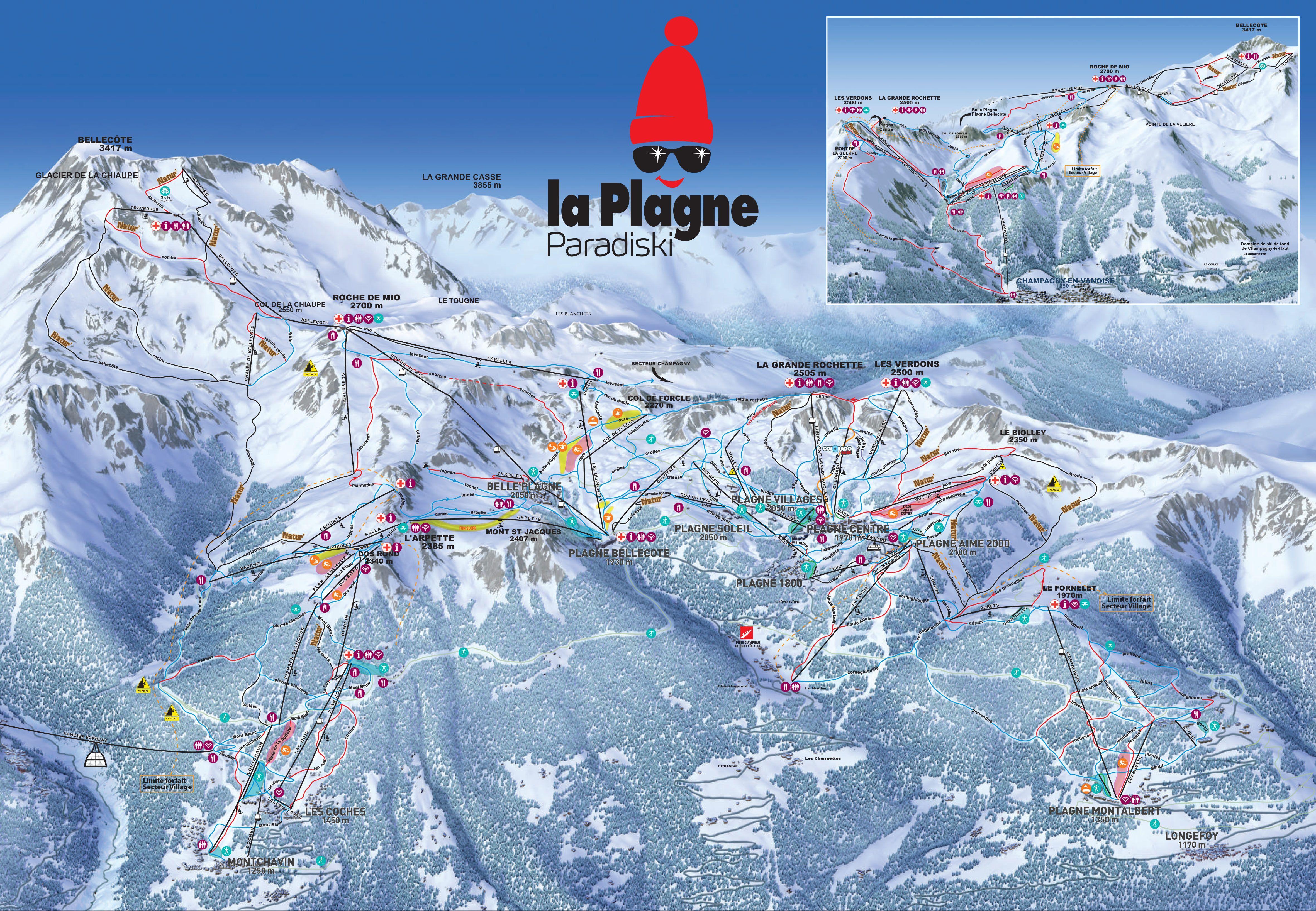 Pistekaart La Plagne
