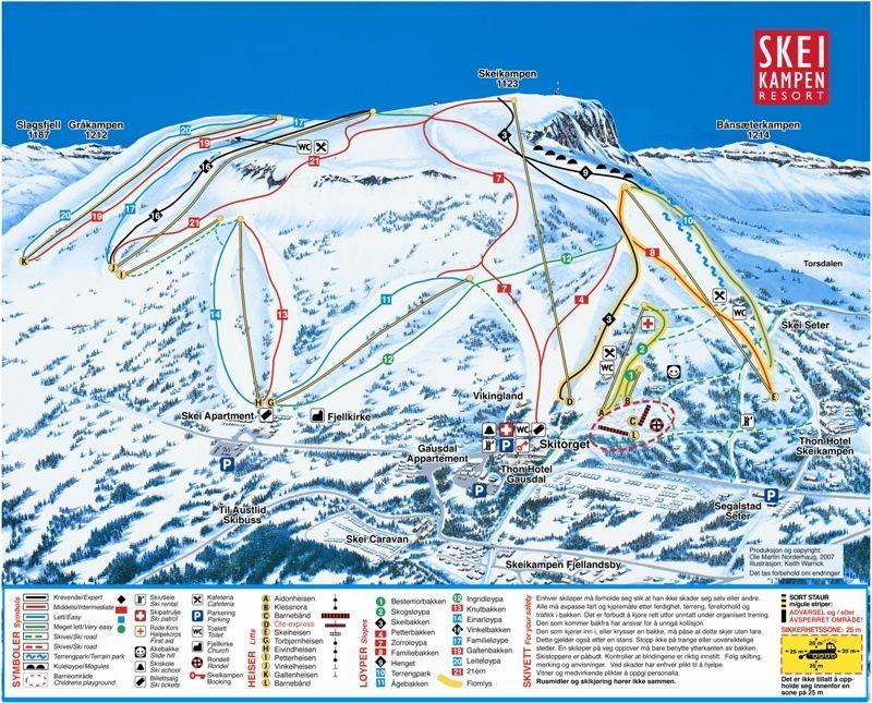 Pistekaart Skeikampen Skigebied Met 21 Km Piste In Noorwegen