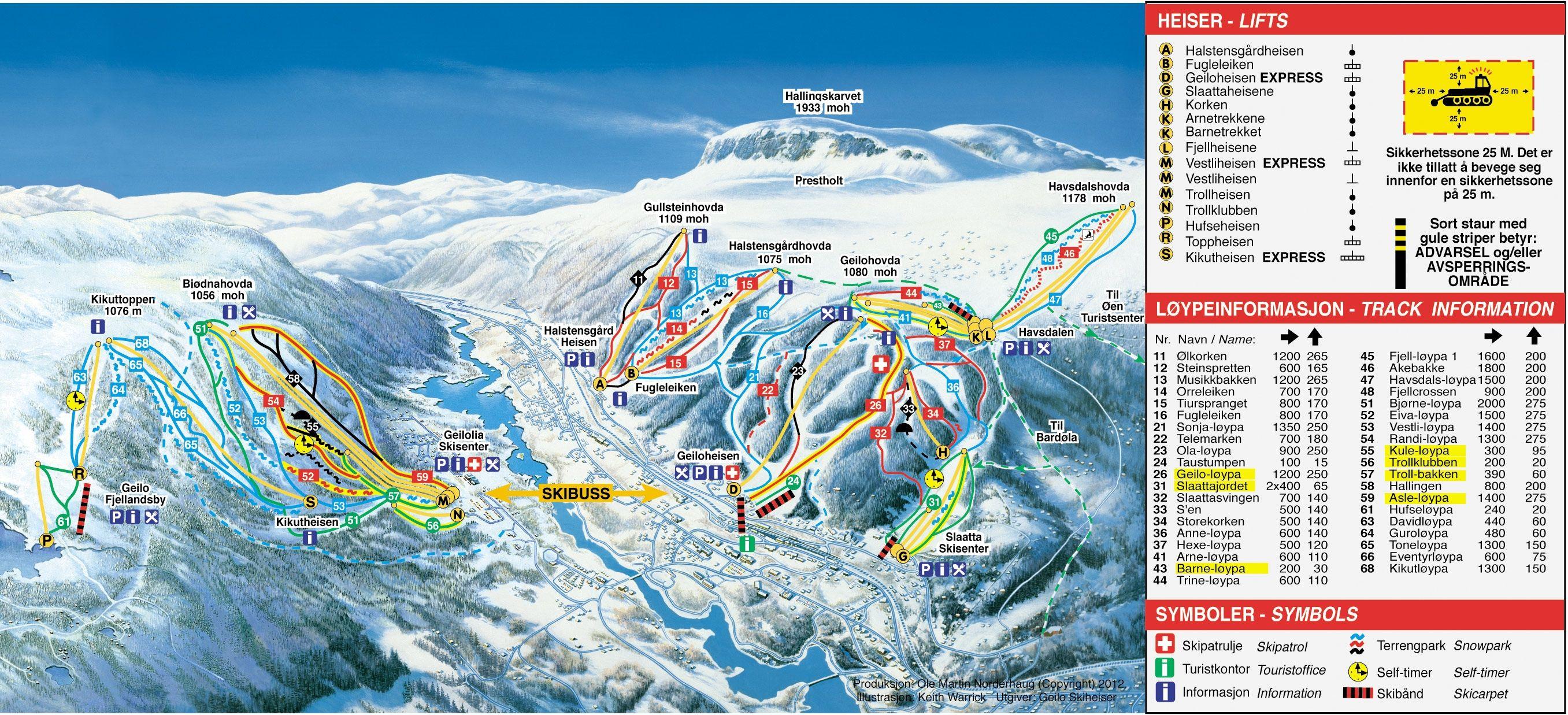 Pistekaart Geilo Skigebied Met 35 Km Piste In Noorwegen