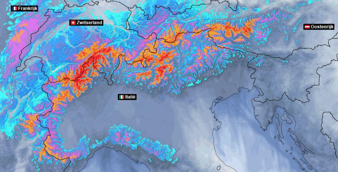 Gigantische hoeveelheden sneeuw en regen voor de Zuidalpen
