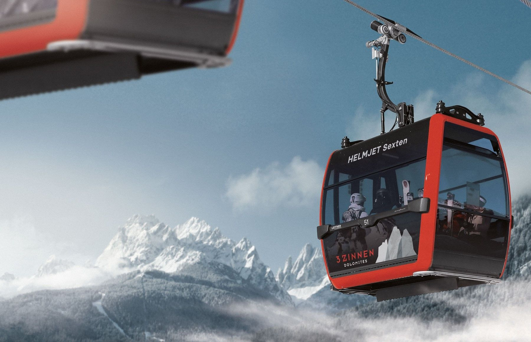 Nieuwe gondel in Drei Zinnen Dolomiten